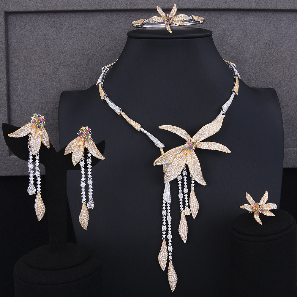GODKI Luxury Stars Long Tassel 4PC Nigerian Jewelry Sets For Women Wedding Zircon Crystal CZ Indian