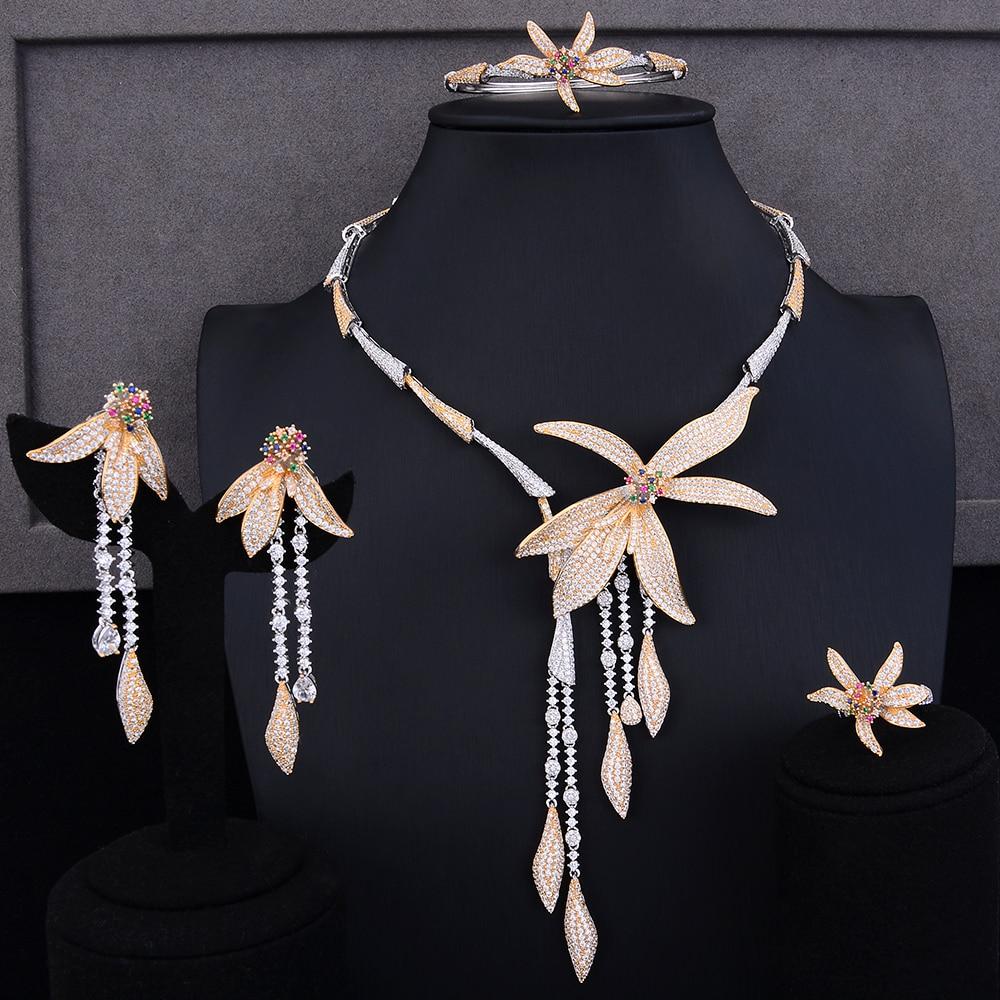 GODKI Luxury Stars Long Tassel 4PC Nigerian Jewelry Sets For Women Wedding Zircon Crystal CZ Indian