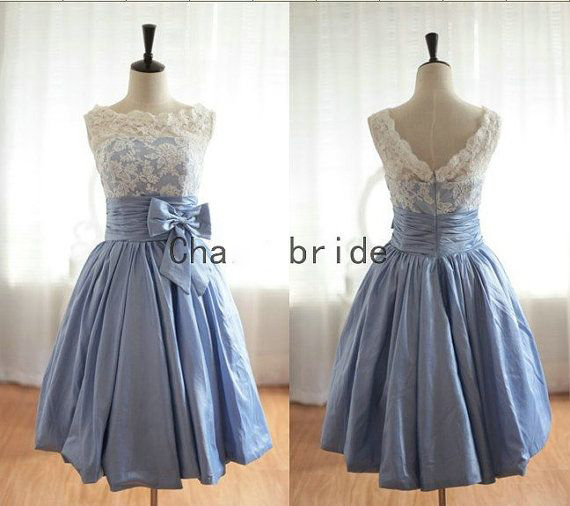 Lace Light Blue Cheap Short Bridesmade Dresses Under 100 Honor Jurk ...