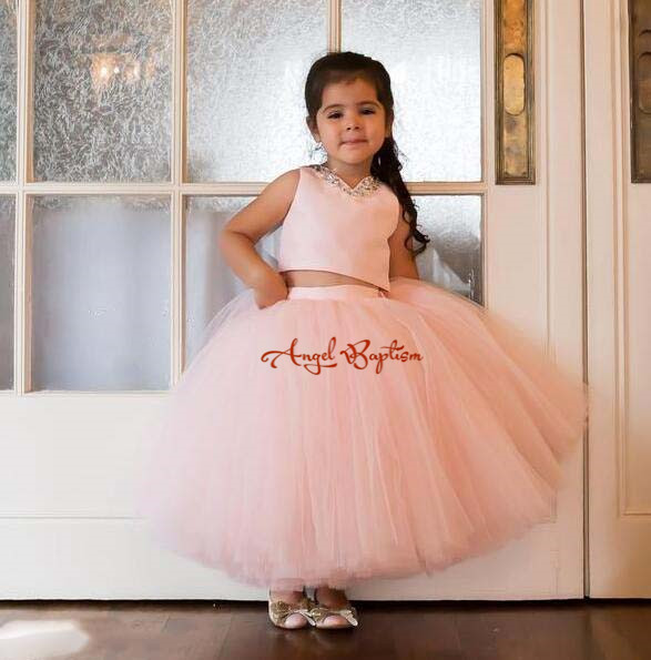 Blush pink two pieces little princess infant first birthday dress V-neck ball gown ankle length tutu girl kid tea party dresses new korean round neck fake two pieces slim dress