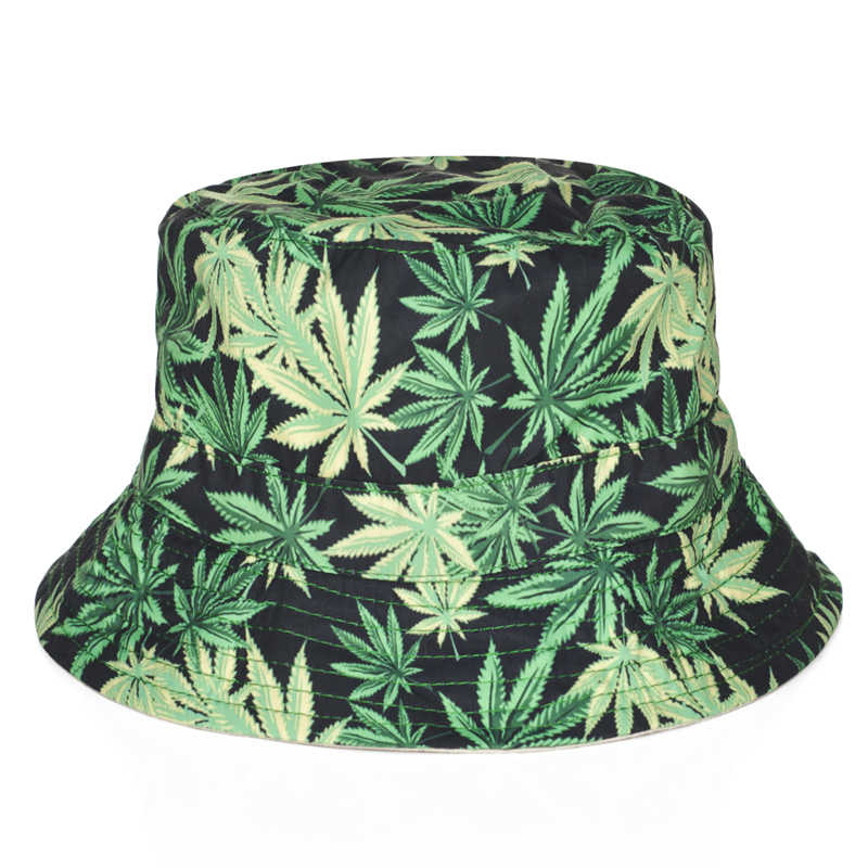Detail Feedback Questions about 2018 Summer Fashion Harajuku Flat Bucket  Hats 3D printed Weed Beach Hat Hip Hop Causal Cops For Women Girls on ... 501d8e2eba65