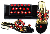Italian shoes and clutches bag with size 38 43 fashion african shoes and bag set black and red small flowers shoes bag SB8213 6