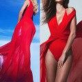 Ларго Богемы Пляж Туника Red Dress Купальный Костюм Женщины Femme Летом Купальники Крышку Ибп Белый Длинный Макси Vestidos плайя