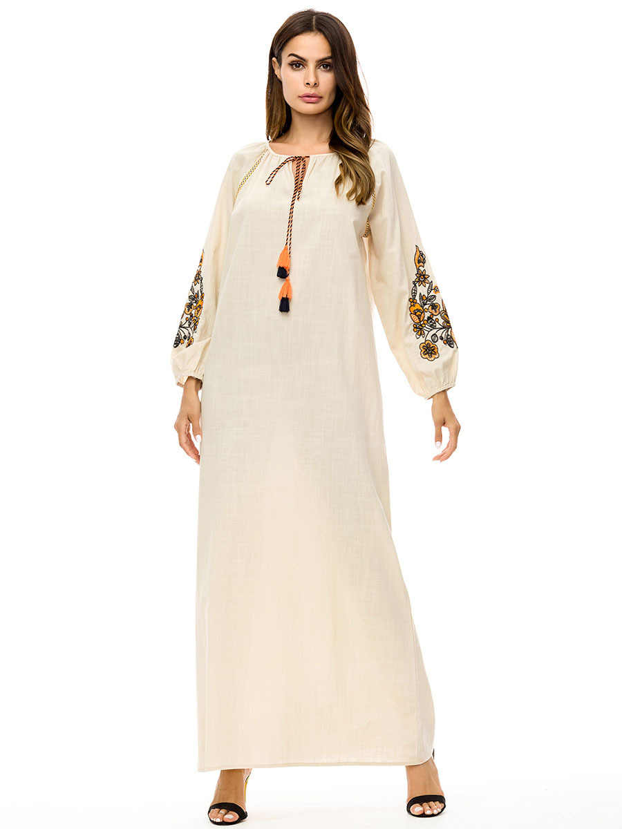691a10ef978d3 Detail Feedback Questions about Casual Jeans Maxi Dress Embroidery ...