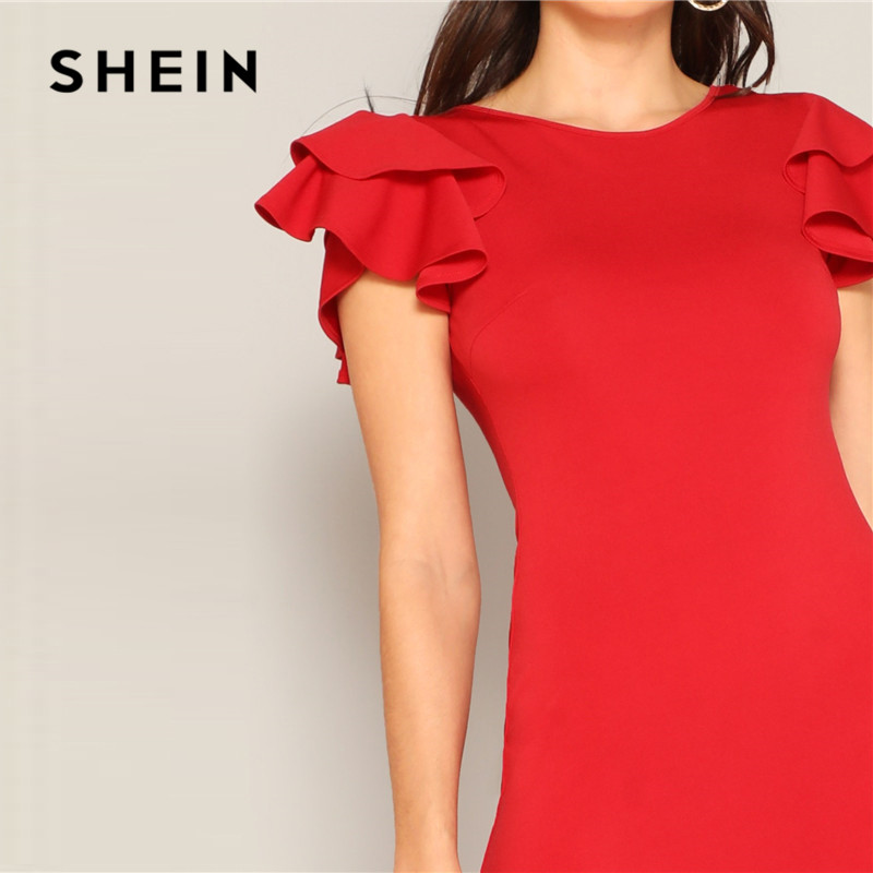 Image 4 - SHEIN Red Layered Ruffle Sleeve Crisscross Back Bodycon Dress Women Summer Elegant Sleeveless Solid Slim Midi Party Dress-in Dresses from Women's Clothing