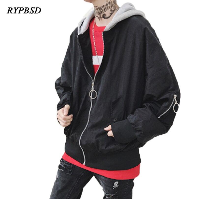 Streetwear Hip Hop Jacket Men 2018 Spring Harajuku Jacket Men Couple Hooded Jacket Zipper Fashion Casual Long Sleeve Coat