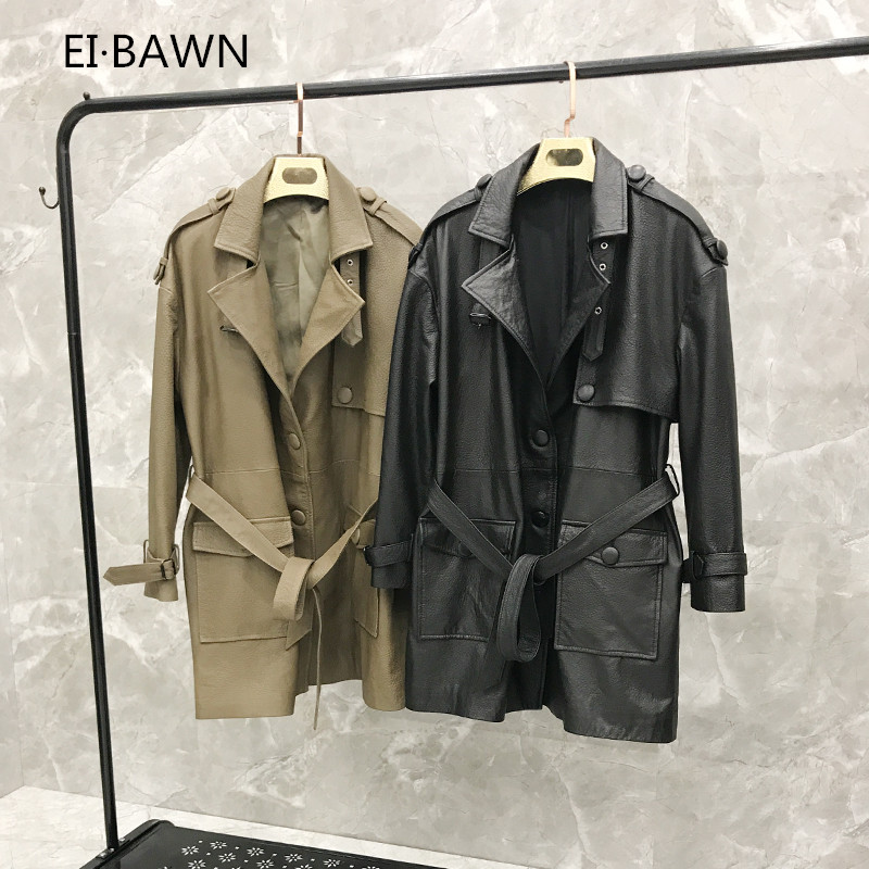 2019 Autumn Long Section Version of The Loose Large Size Coat Women Genuine Leather Jacket