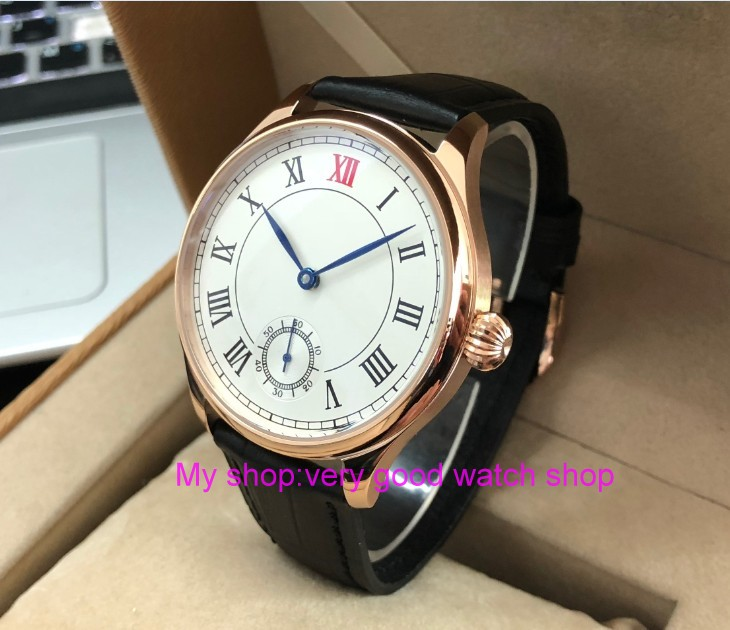 44mm PARNIS Asian 6498 17 jewels Mechanical Hand Wind movement mens watch White dial Rose gold case Mechanical watches PA79-P844mm PARNIS Asian 6498 17 jewels Mechanical Hand Wind movement mens watch White dial Rose gold case Mechanical watches PA79-P8