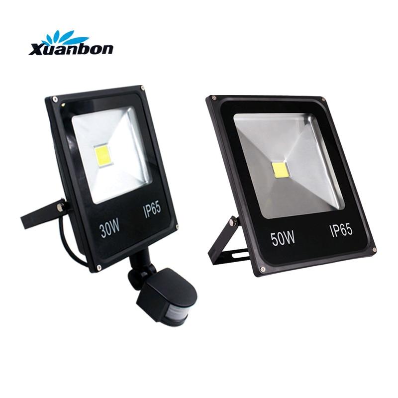 Ultrathin 10W 20W 30W 50W LED Flood light With PIR Motion Sensor Detector waterproof Spotlight Outdoor IP65 Floodlight