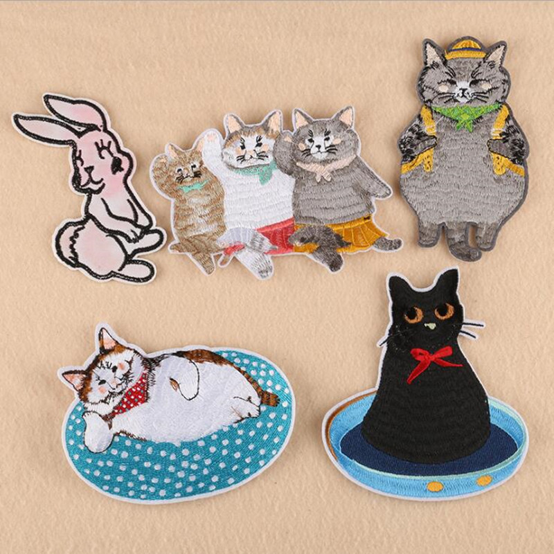 Black Gray Animal Embroidered Iron On Patches For DIY Cloth Patch Fashion Design Motif Applique Badge in Patches from Home Garden