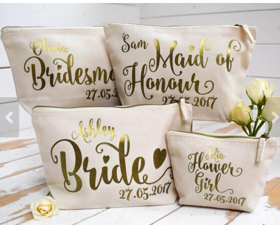 Personalised Bridesmaid Maid Of Honour Flower Wedding Gift Make Up Bags Unique For Bridal Party In Wring Supplies From Home