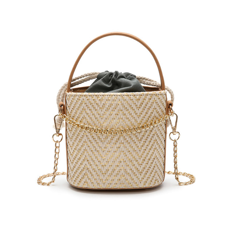 New Summer Fashion Women Bag Straw Beach Bag Portable Bucket shaped Female Bag Beige Khaki Shoulder Diagonal Bag in Shoulder Bags from Luggage Bags