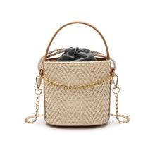 купить New Summer Fashion Women Bag Straw Beach Bag Portable Bucket-shaped Female Bag Beige Khaki Shoulder Diagonal Bag дешево
