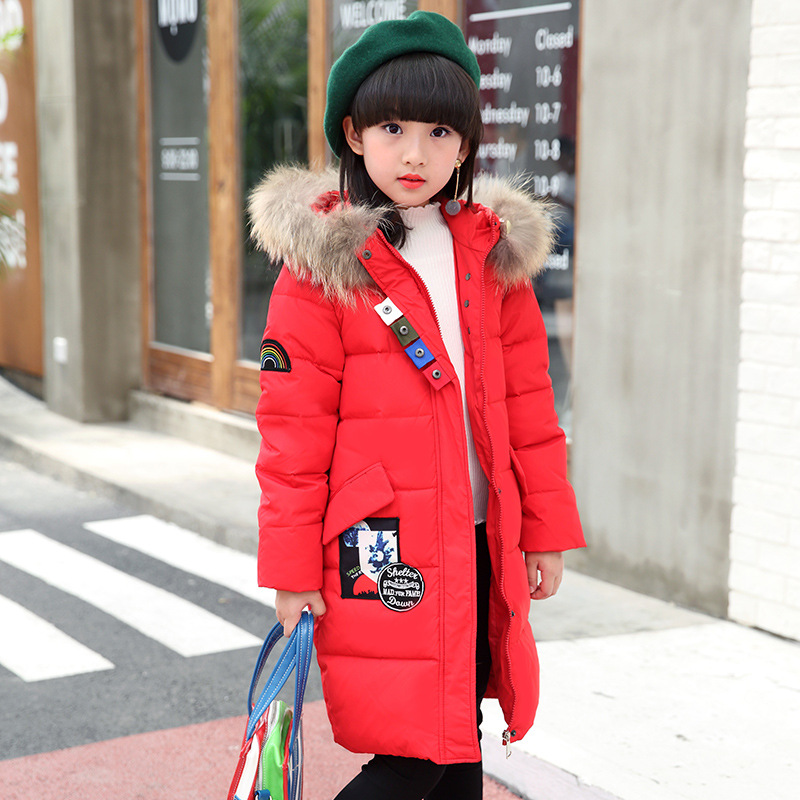 Girl new 2017 Korean style long down jacket winter for size 6 7 8 9 10 11 12 13 14 years child large thick fur collar coat baby boy and girl 2017 new korean thick down jacket winter for size 1 2 3 4 years child long coat kid tide casual outerwear