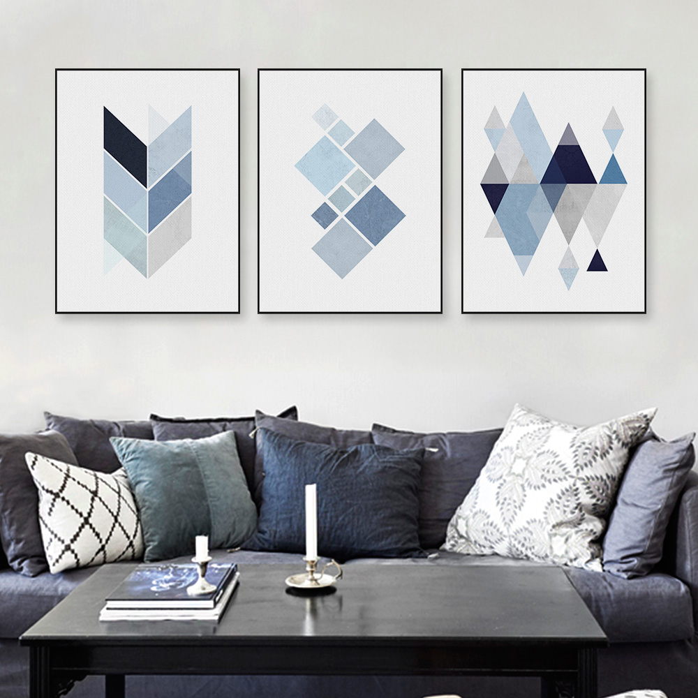 Modern abstract geometric shape a4 art print poster blue wall picture nordic living room home Contemporary wall art for living room