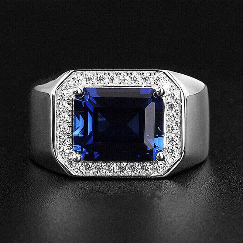 Big Blue Zircon หินสีเงินแหวนสำหรับชายเงา AAA CZ เครื่องประดับผู้ชายเครื่องประดับขนาดแหวน 7-11 bague homme
