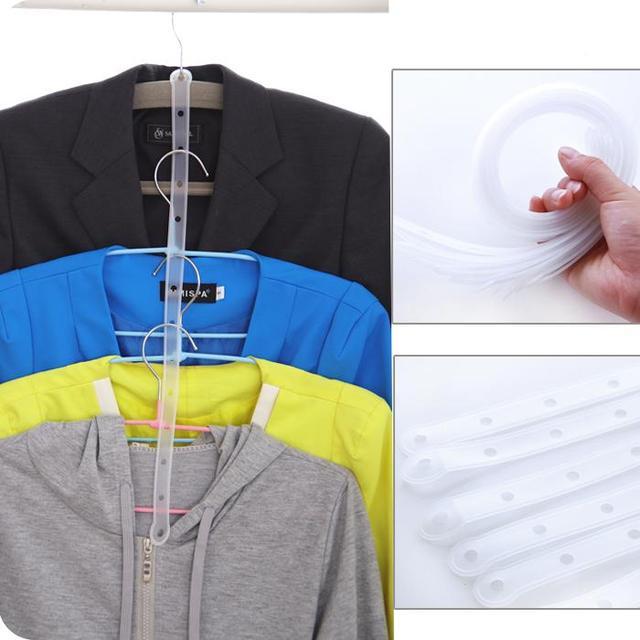 1PCS Clothing Store Link Bar Transparent Clothes Hanger with A Plastic Strip 14 Hole