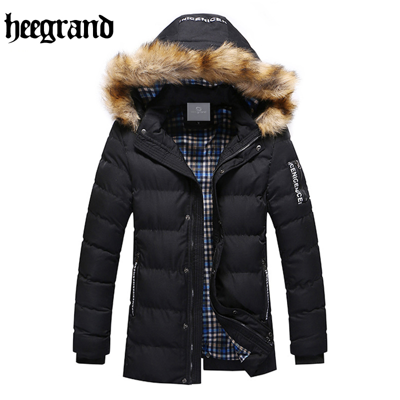 HEE GRAND 2017 New Men Cotton Thick Thermal Casual Hooded Overcoat Solid Jackets Masculine Warm Coat MWM1406 220v 700w u type carbon fiber tube for kitchen heating machine u shape electric heater parts halogen heating element