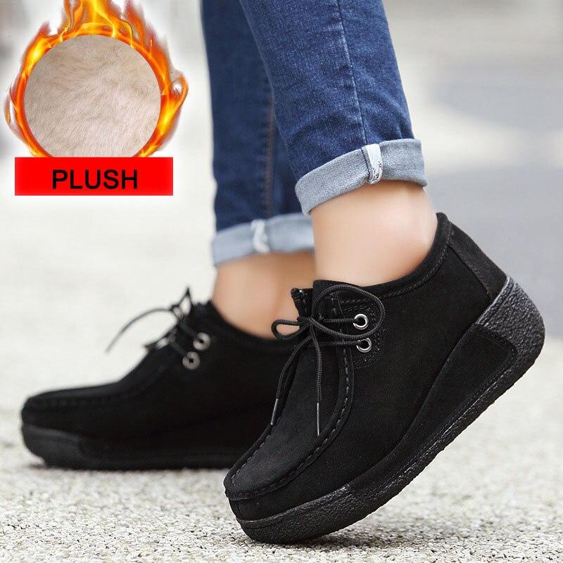 Inverno sapatos femininos de couro genuíno com
