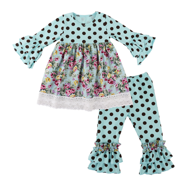 26d588fcc Kids Children Clothing Fall/spring Clothes Girls 2pcs Clothing Sets Polka  Dot Ruffle Pant Set Boutique Outfits With Lace Trims-in Clothing Sets from  Mother ...