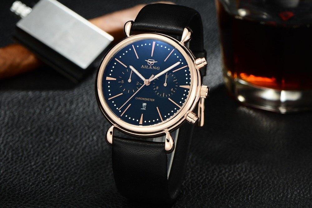 AILANG Super Luminous Men Watches Quartz Genuine Leather Wristwatch Multi-functional Sports Designer Watch Week Calendar A116