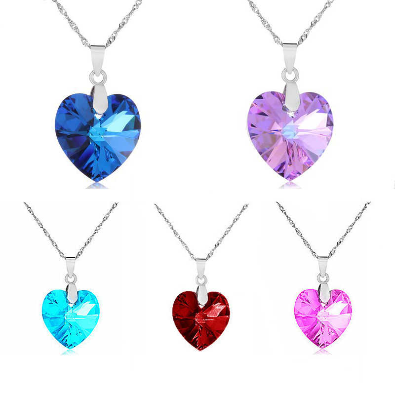2019 Fashion Jewelry 5 colors Austrian Crystal Heart Pendant Necklace Women Colorful Love Necklaces & Pendants Collares Brincos