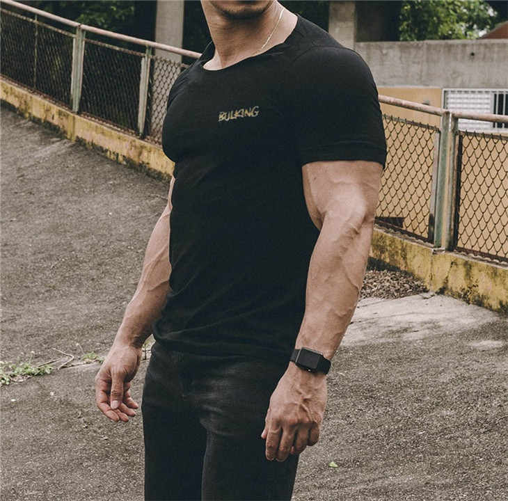 Men Short Sleeve Cotton T-shirt Summer Casual Fashion Gyms Fitness Bodybuilding T shirt Male Slim Tees Tops Clothing 30