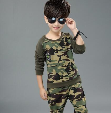 Autumn Camouflage Children clothing set kids tracksuit sports suit Baby boys Long Sleeve T Shirt+Pants casual clothes купить