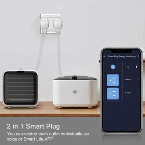 Image 3 - Alexa Tương Thích 2 Trong 1 WiFi Ổ Cắm 16A Tiêu Chuẩn EU Giám Sát Điện Năng Tuya Ứng Dụng Điều Khiển Từ Xa Thông Minh Ổ Cắm Làm Việc Với google Home