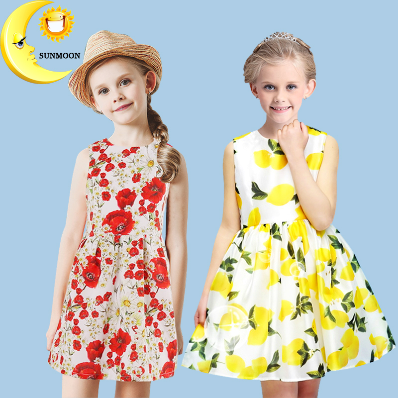 Girls clothes brand girl dress party children clothing flower lemon tutu princess costume toddler kids dresses for girls 2-10T girls dress 2017 new summer flower kids party dresses for wedding children s princess girl evening prom toddler beading clothes