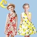 Ropa de las muchachas marca party girl dress niños ropa flor lemon tutu disfraz de princesa niño niños vestidos para niñas de 2-10 t