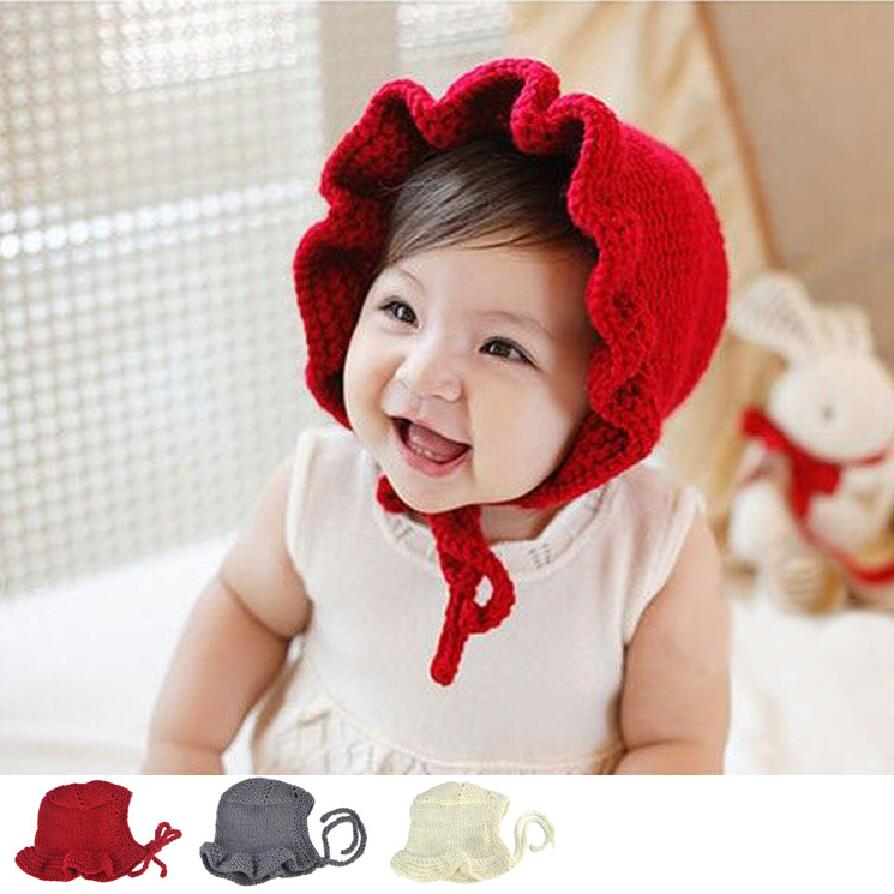 lovely Newborn Infant knitted hats Solid Princess Caps Cute baby Girls  bonnet newborn photography props 2227b75f7e9