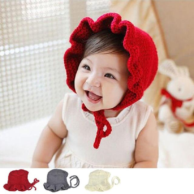 Lovely newborn infant knitted hats solid princess caps cute baby girls bonnet newborn photography props