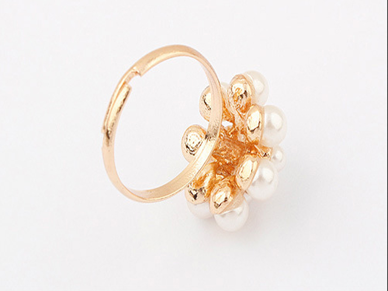 New Style Fashion Korean Golden Elegant Women Ladies Lovely Girls Simulated Pearl Flower Ring Women's Jewelry aneis feminino 2