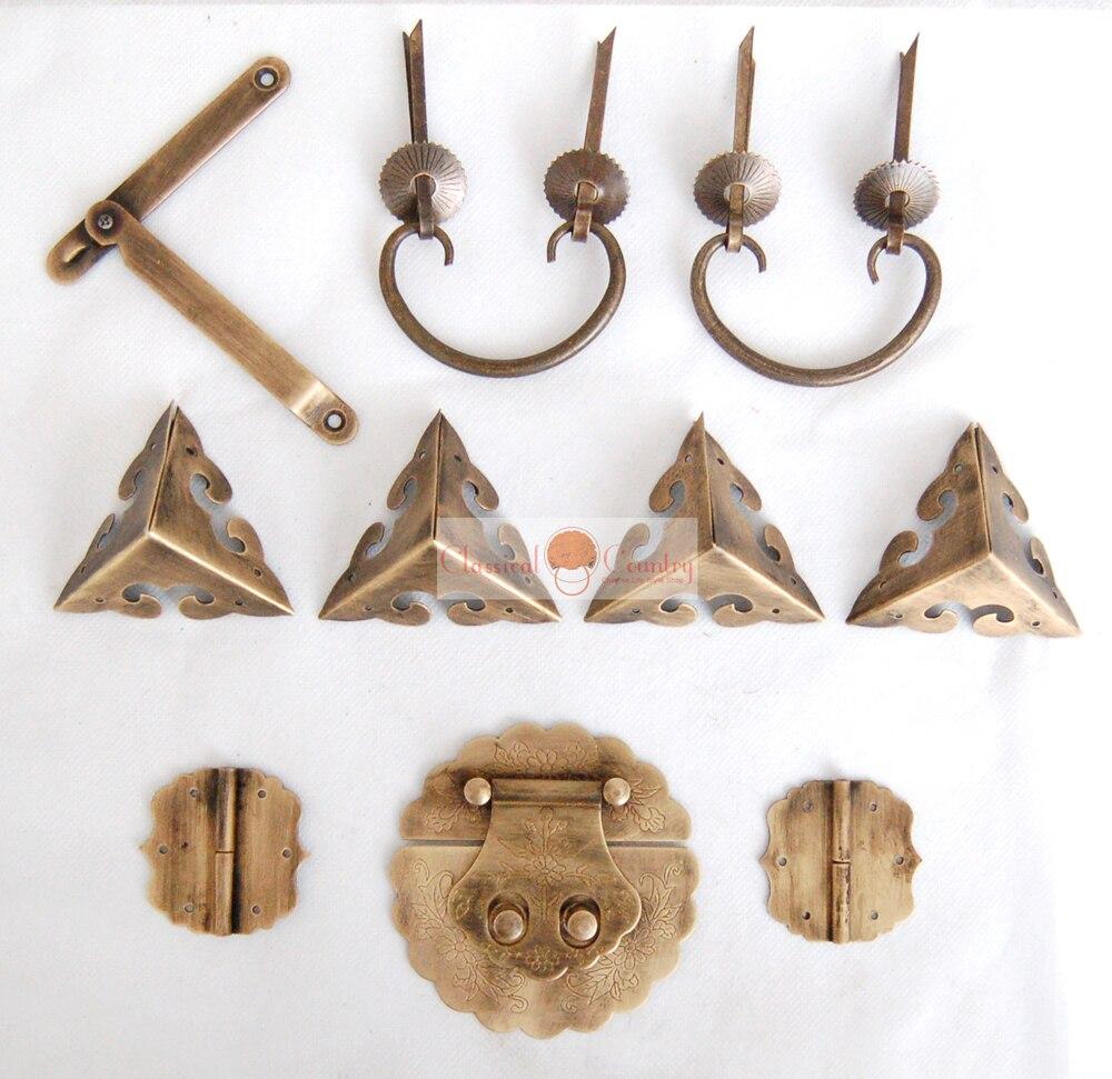 Brass Hardware Set Hinges Latch Handle Corners Antique