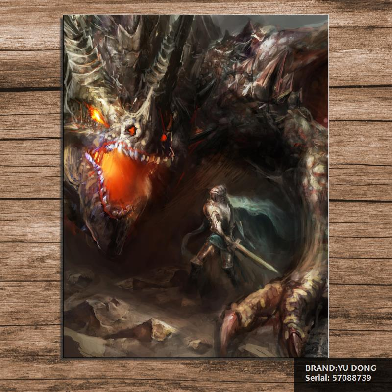 Fantasy Scene Knight Fighting Dragon Cartoon Modern Oil