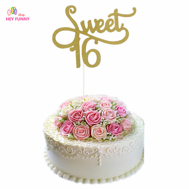 Online Shop 1piece Gold Glitter Sweet 16 Birthday Cupcake Toppers