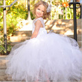 De alto grado de la princesa vestido de novia de Europa y América niña de las flores vestido de dama de Honor Vestidos de las muchachas blancas para 0-12 Yesrs