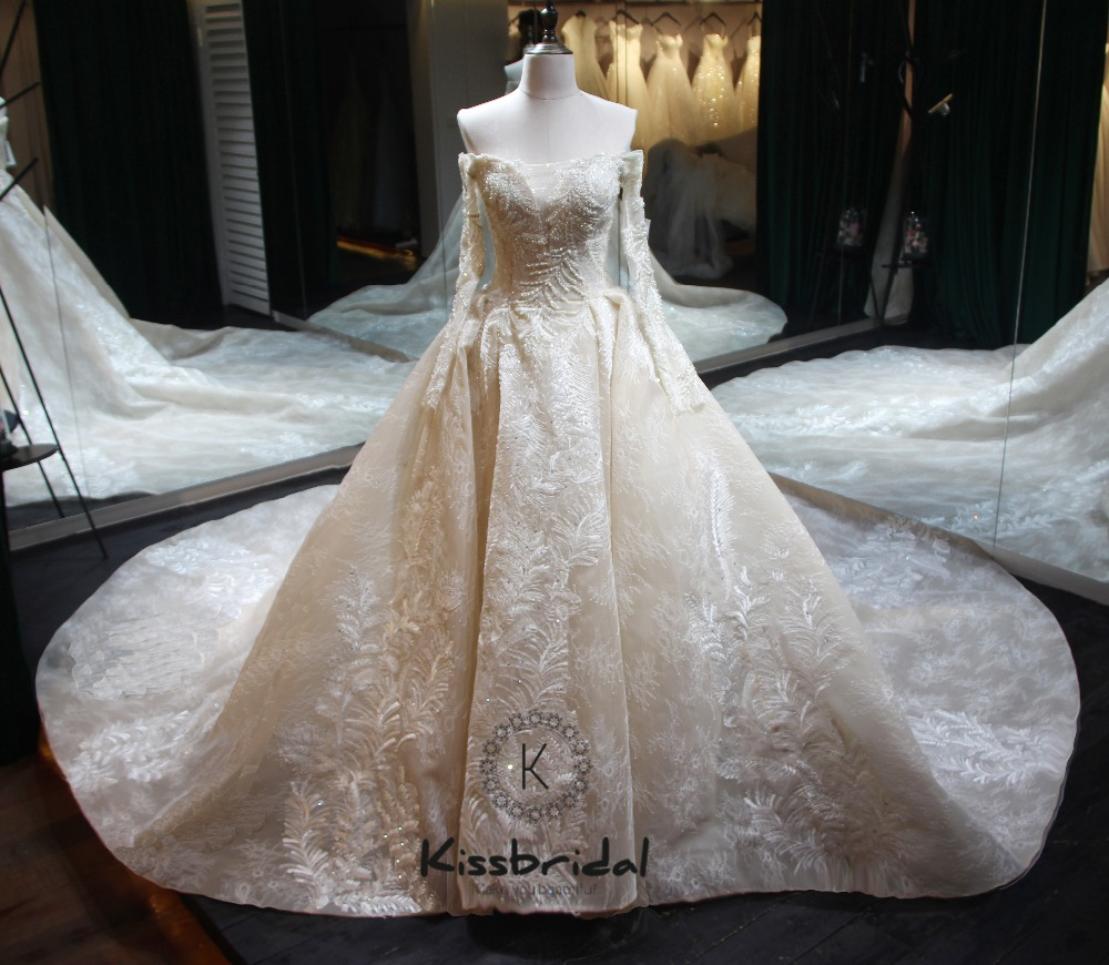 Robe de noiva longo New Élégant Long De Mariage Robe 2018 Bateau Cou À Manches Longues Chapelle Train Appliques Tulle A-ligne De Mariée robe