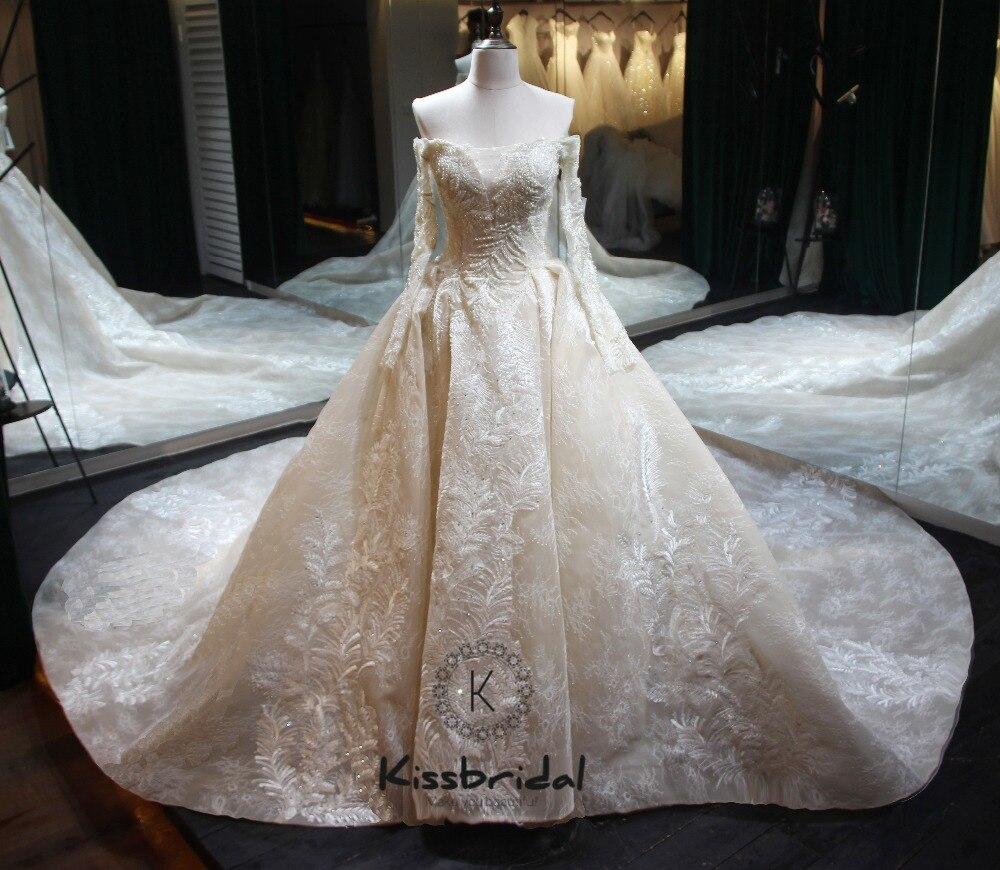 Vestido de noiva longo Nuovo Elegante Lungo Abito Da Sposa 2018 Scollo A Barca Manica Lunga Cappella Treno Appliques di Tulle di A-Line Da Sposa abito