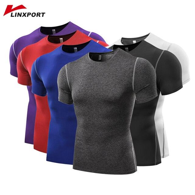 גברים קצר שרוול T חולצות כושר כדורסל ריצת גרביונים ספורט תרמית שרירים פיתוח גוף כושר דחיסת ג 'רזי מעיל למעלה