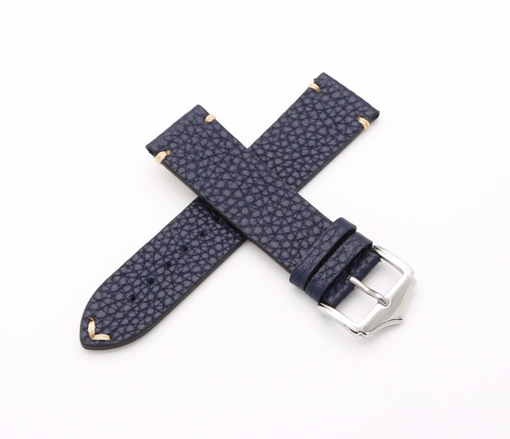 20 22 მმ Cowhide ტყავის ლურჯი VINTAGE მაჯის სამაჯური სამაჯური ქამარი ვერცხლისფერი Polish Pin Pin Buckle საუკეთესო საჩუქარი Rolex Omega Tissot Tag