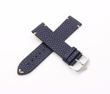 купить 20 22mm Newest Men Woman Genuine Cowhide Leather Blue VINTAGE Wrist Watch Band Strap Belt Silver Polish Pin Buckle Best Gift по цене 700.16 рублей