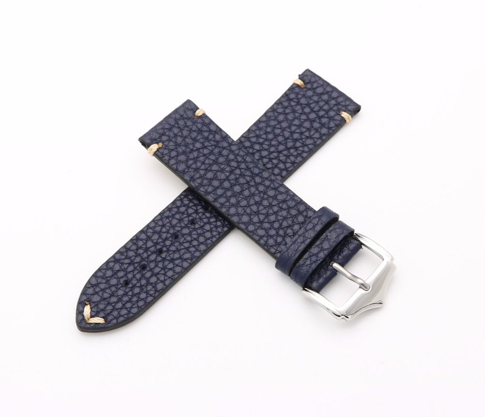 20 22mm Newest Men Woman Genuine Cowhide Leather Blue VINTAGE Wrist Watch Band Strap Belt Silver Polish Pin Buckle Best Gift cowhide leather belt watch men and women watch accessories butterfly buckle strap watch band waterproof