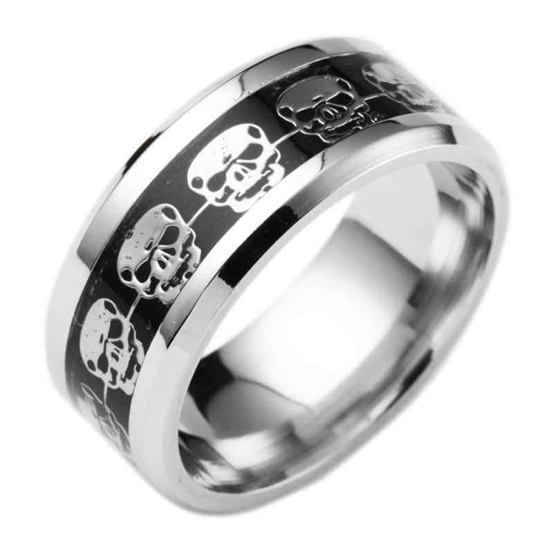 สไตล์ใหม่คุณภาพสูงสแตนเลสแหวน Aneis เครื่องประดับสไตล์ Punk Skull แหวน Hip Hop แหวนเครื่องประดับ Trinket