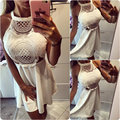 2016 new fashion Women white sexy crochet hollow out backless Summer vintage mini dresses Dress Vestido Curto Cortos