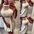 2016 nuevas Mujeres blanco sexy crochet hollow out backless Del Verano mini vestidos de época Vestido Curto Cortos