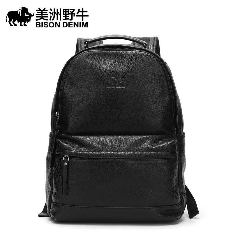 BISON DENIM Men Backpack Waterproof Genuine Leather Casual Travel Beach Bag 14 Inch Laptop Backpack Teenagers School Bags 14 15 15 6 inch flax linen laptop notebook backpack bags case school backpack for travel shopping climbing men women
