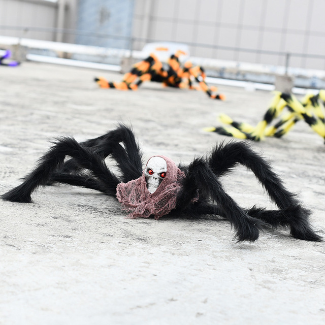 3pcs Creepy Animated Halloween Horror Props Big Black Spider Scary Toy Horror Halloween Accessories Halloween Party Decoration
