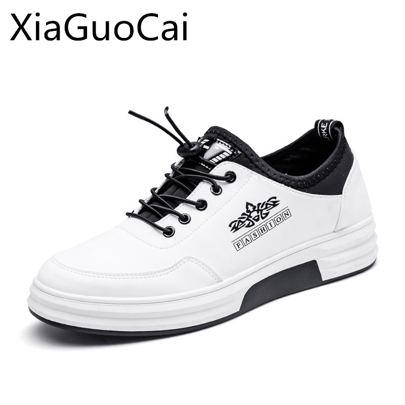 Spring 2018 Fashion Men Casual Shoes White Cool Leather Luxury Brand Male Sneakers Low Top Spring Flat Shoes Drop Shipping 35 valstone 2018 men leather casual shoes hip hop gold fashion sneakers silver microfiber high tops male vulcanized shoes sizes 46